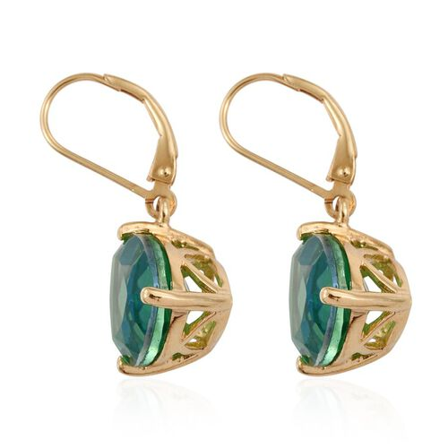 Peacock Quartz (Trl) Lever Back Earrings in 14K Gold Overlay Sterling Silver 10.000 Ct.