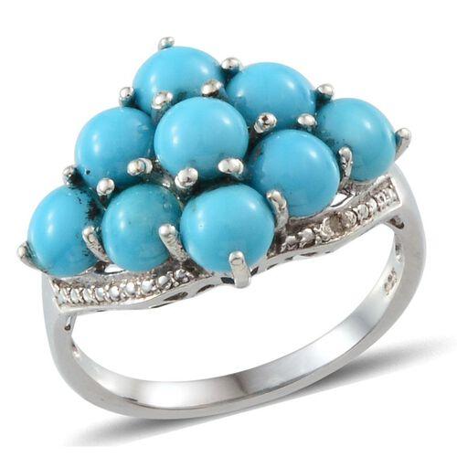 Arizona Sleeping Beauty Turquoise (Rnd), Diamond Ring in Platinum Overlay Sterling Silver 3.760 Ct.