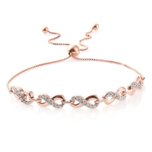 Diamond 0.29 Ct Silver Infinity Love Adjustable Bracelet in Rose Gold Overlay (Size 6.5 to 8.5)