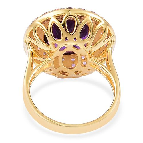 Amethyst (Rnd 6.25 Ct) Ring in Yellow Gold Overlay Sterling Silver 6.650 Ct.