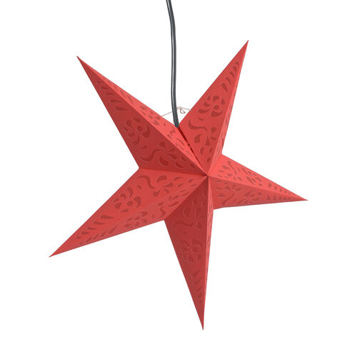 CHRISTMAS SPECIAL Home Decor - Laser Cut Pattern Red Colour Handmade Star with Electric Cable (Size 60 Cm)