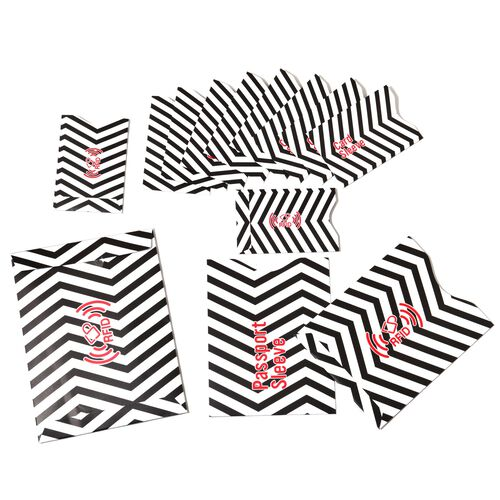 Set of 13 - Black and White Colour Wave Pattern One RFID Card, Two Passport Card and Ten Credit Card Sleeves