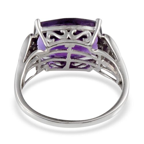 Lusaka Amethyst (Cush 5.25 Ct), Diamond Ring in Platinum Overlay Sterling Silver 5.350 Ct.