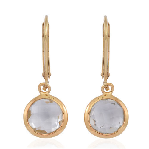 Checkerboard Cut Green Amethyst Lever Back Earrings in 14K Gold Overlay Sterling Silver 3.500 Ct.