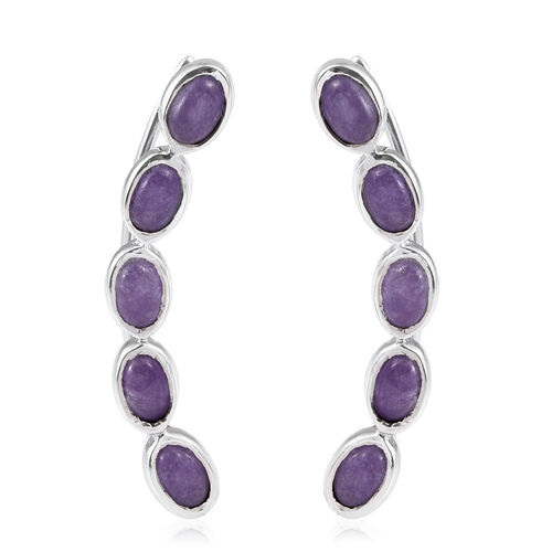 Purple Jade (Ovl) Climber Earrings in Platinum Overlay Sterling Silver 6.250 Ct.