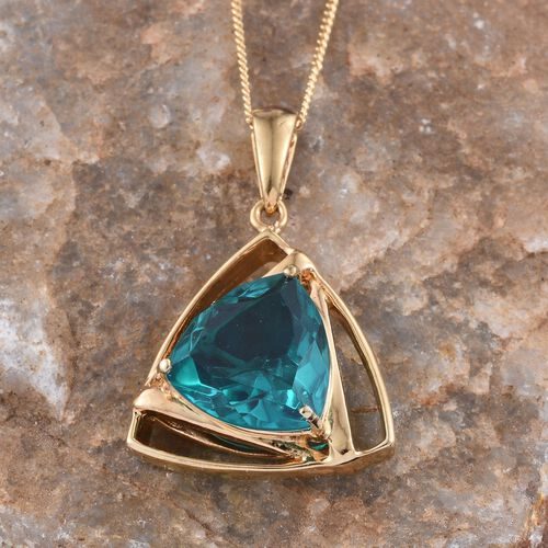 Capri Blue Quartz (Trl) Solitaire Pendant With Chain in 14K Gold Overlay Sterling Silver 6.000 Ct.
