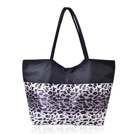 Grey, White and Black Colour Leopard Pattern Tote Bag (Size 52x38x32x15.5 Cm)