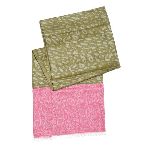 Leopard and Paisley Pattern Green and Pink Colour Reversible Scarf (Size 190x70 Cm)