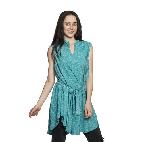 Blue Colour Floral and Paisley Pattern Top with Adjustable Waist Band (Free Size)