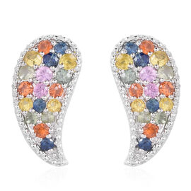 Rainbow Sapphire (Rnd) Leaf Stud Earrigns (with Push Back) in Rhodium Plated Sterling Silver 4.001 Ct.