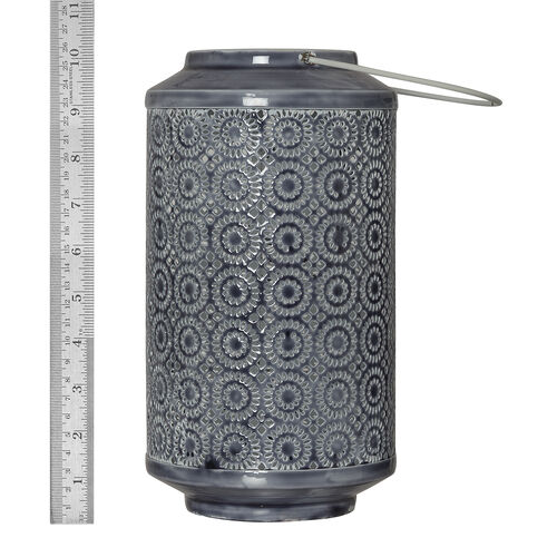 (Option-1) Home Decor - Grey Colour Laser Cut Floral Pattern Lantern with LED T Light