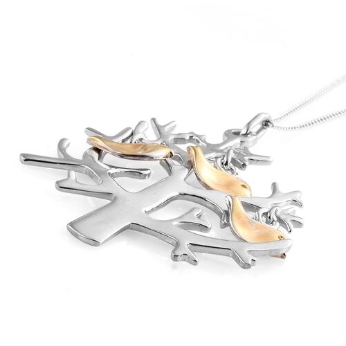 Platinum and Yellow Gold Overlay Sterling Silver Tree and Birds Pendant With Chain, Silver wt 7.15 Gms.