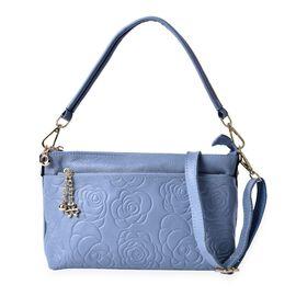 Genuine Leather Floral Pattern Shoulder Bag with External Zipper Pocket with Adjustable and Removable Shoulder Strap (Size 27x17.5x9 Cm)