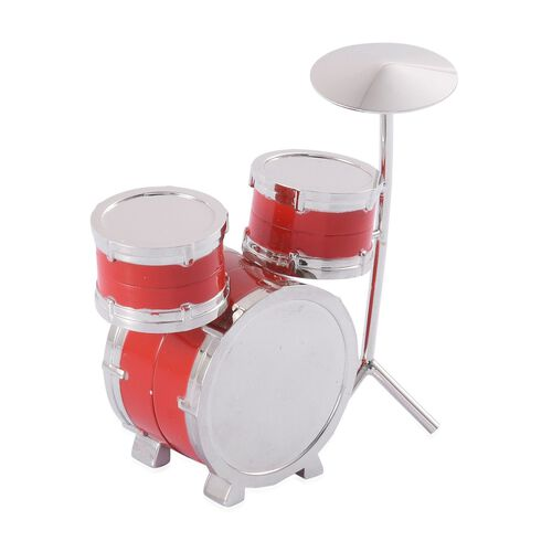 3D-STRADA Japanese Movement Red Drum Set Style Table Clock