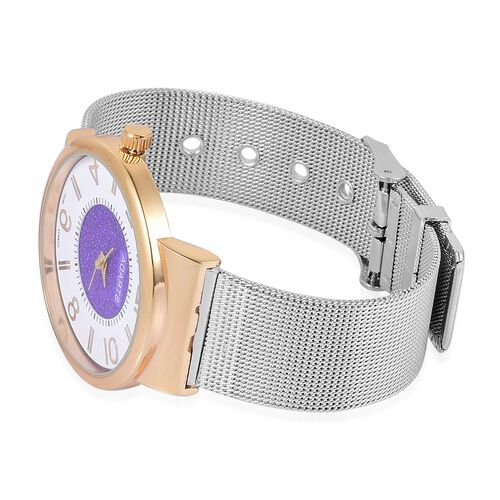 STRADA Japanese Movement Purple Stardust and White Dial Water Resistant Watch in Gold Tone with Stainless Steel Back and Chain Strap
