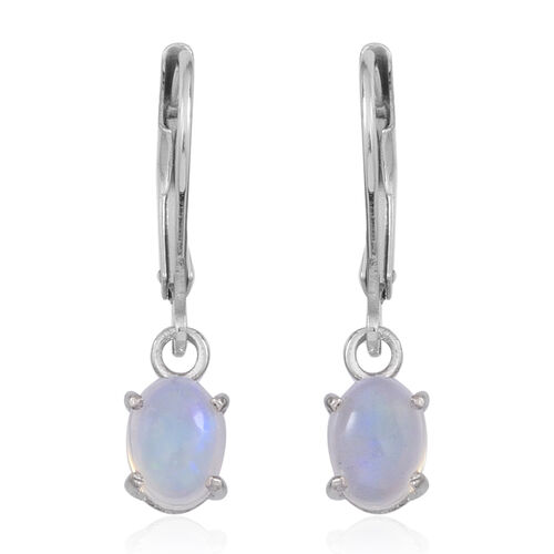 Ethiopian Welo Opal (Ovl) Lever Back Earrings in Rhodium Plated Sterling Silver 1.000 Ct.