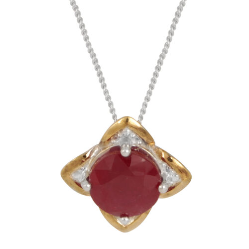African Ruby (Rnd) Solitaire Pendant With Chain in Rhodium Plated Sterling Silver 3.000 Ct.
