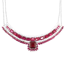 African Ruby (Oct 10.00 Ct), Burmese Ruby and White Topaz Necklace (Size 18) in Rhodium Plated Sterling Silver 40.010 Ct.