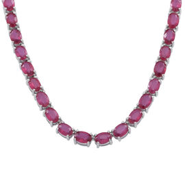 AAA African Ruby (Ovl) Necklace (Size 18) in Rhodium Plated Sterling Silver 50.000 Ct.