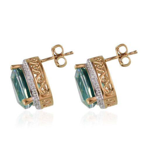 Peacock Quartz (Trl), Diamond Stud Earrings (with Push Back) in 14K Gold Overlay Sterling Silver 11.760 Ct.