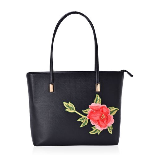 3D Floral Pattern Black Colour Tote Bag (Size 38x28x8 Cm)