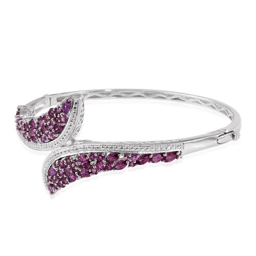 Rare Mozambique Grape Colour Garnet (Rnd) Bangle (Size 7.5) in Platinum Overlay Sterling Silver 7.000 Ct. Silver Wt 21.00 Gms