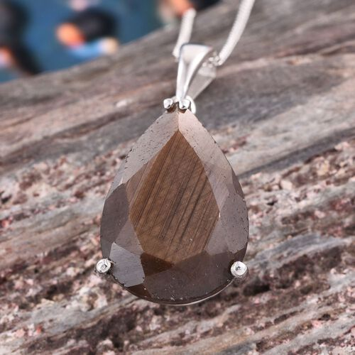 Natural Zawadi Golden Sheen Sapphire (Pear) Pendant With Chain in Platinum Overlay Sterling Silver 14.750 Ct.