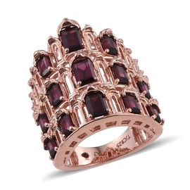 Royal Jaipur Rhodolite Garnet (Oct), Burmese Ruby Ring in Rose Gold Overlay Sterling Silver 6.000 Ct.