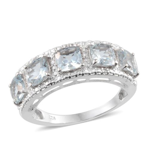Espirito Santo Aquamarine (Cush), Diamond Ring in Platinum Overlay Sterling Silver 2.270 Ct.