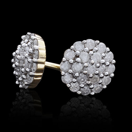 9K Yellow Gold 0.50 Carat Diamond Cluster Stud Earrings SGL Certified I3 G-H