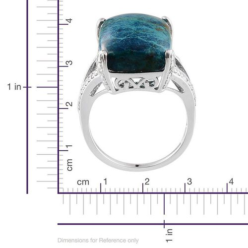 Table Mountain Shadowkite (Cush 18.50 Ct), Diamond Ring in Platinum Overlay Sterling Silver 18.530 Ct.