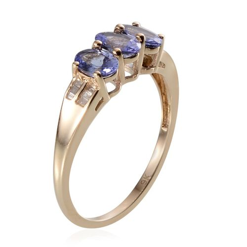 Close Out Deal 9K Y Gold Tanzanite (Ovl), Diamond Ring 1.350 Ct.