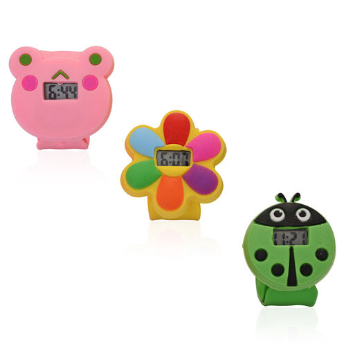 Set of 3 - STRADA Bear, Flower and Lady Bug Water Resistant LED Watch with Pink, Yellow and Green Silicone Strap
