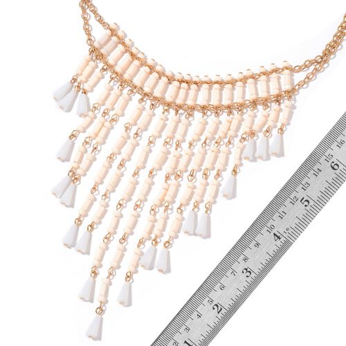 Simulated Peach and White Diamond Waterfall Necklace (Size 16 with 3 inch Extender) in Yellow Gold Tone