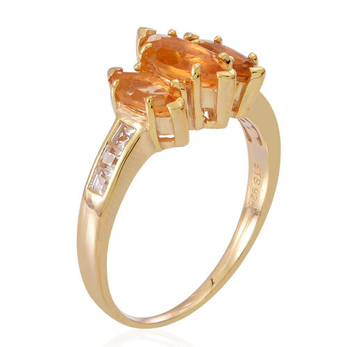 Citrine (Mrq 1.00 Ct), White Topaz Ring in 14K Gold Overlay Sterling Silver 2.500 Ct.
