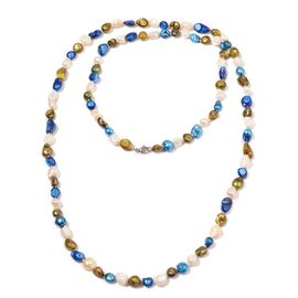 Blue and Multi Colour Keshi Pearl Necklace (Size 48) 405.000 Ct.