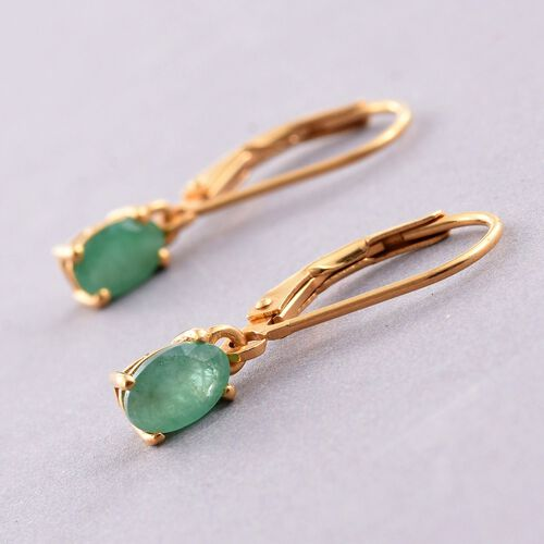 Kagem Zambian Emerald (Ovl) Lever Back Earrings in 14K Gold Overlay Sterling Silver 1.000 Ct.