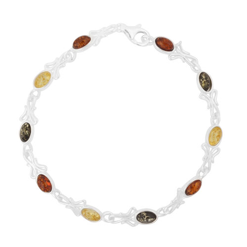Multi Colour Baltic Amber (Ovl) Bracelet (Size 7.5) in Sterling Silver