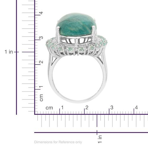 Russian Amazonite (Ovl 11.75 Ct), Paraibe Apatite and Diamond Ring in Platinum Overlay Sterling Silver 12.510 Ct.
