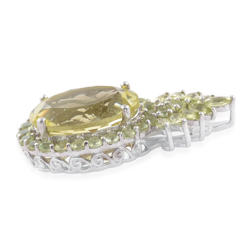 Natural Green Gold Quartz (Ovl 8.95 Ct), Hebei Peridot Pendant in Platinum Overlay Sterling Silver 11.000 Ct.