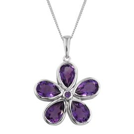 Natural Uruguay Amethyst (Pear) Floral Pendant With Chain in Platinum Overlay Sterling Silver 6.000 Ct.