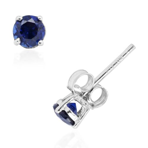 14K W Gold Simulated Blue Sapphire (Rnd) Stud Earrings (with Push Back) 0.610 Ct.