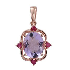 One Time Deal-Rose De France Amethyst (Ovl 3.25 Ct), Ruby Pendant in Rose Gold Overlay Sterling Silver 3.450 Ct.