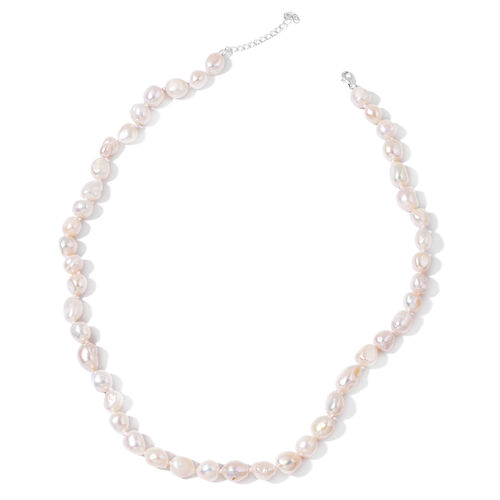 Double Shine - Fresh Water White Pearl Necklace (Size 20 with 1 inch Extender) in Rhodium Plated Sterling Silver