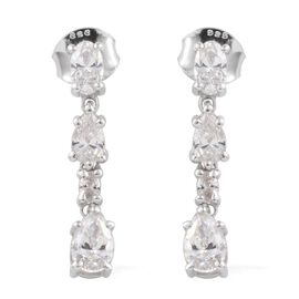 J Francis - Platinum Overlay Sterling Silver (Pear) Earrings Made with SWAROVSKI ZIRCONIA 1.800 Ct.