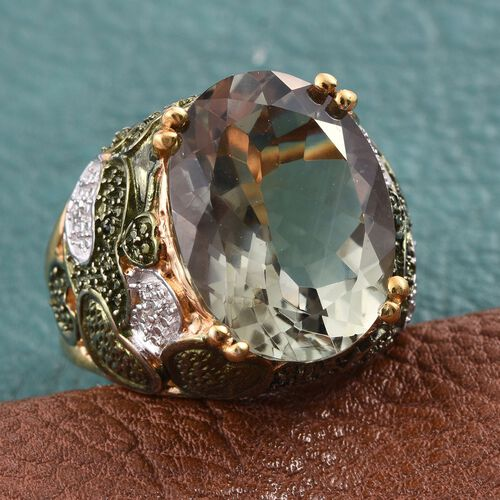 Green Amethyst (Ovl), Diamond Ring in 14K Gold Overlay Sterling Silver 15.500 Ct.