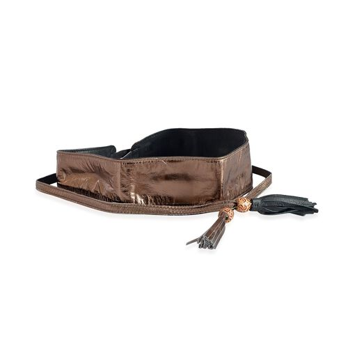 Genuine Leather Bronze and Black Colour Adjustable Waist Belt with Tassels