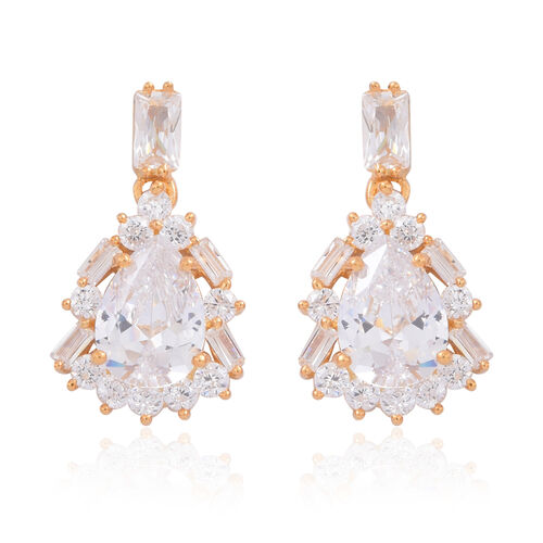 ELANZA AAA Simulated White Diamond (Pear) Earrings (with Push Back) in 14K Gold Overlay Sterling Silver
