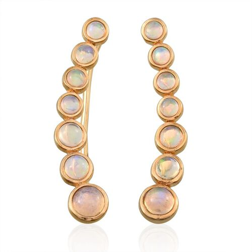 Ethiopian Welo Opal (Rnd) Climber Earrings in 14K Gold Overlay Sterling Silver 2.000 Ct.
