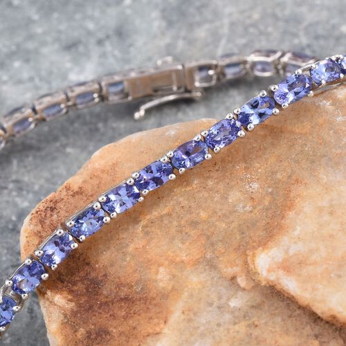 AA Tanzanite (Ovl) Tennis Bracelet (Size 8) in Platinum Overlay Sterling Silver 9.250 Ct.